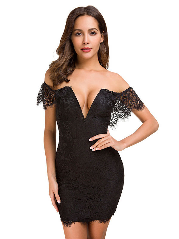 Sexy Boat Neck Fitted Short Sleeve Lace Dress