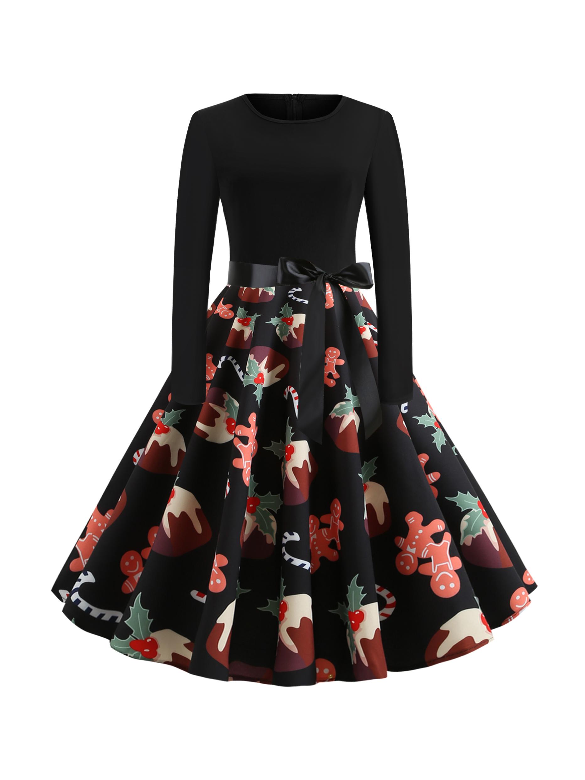 Halloween Printed Fitted Large Hem Ladies Dress