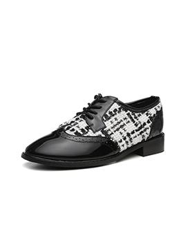 Patchwork Tie Up Progue Black Flat Shoes