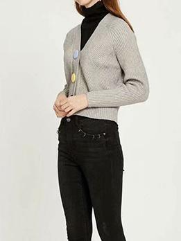 Chic V Neck Long Sleeve Cardigan Sweater