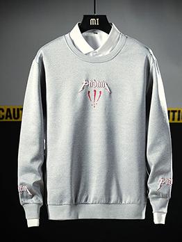 Youth Patchwork Printed Long Sleeve Mens Sweatshirts