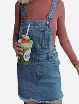 Line Selvedge Button Up Denim Suspender Dress