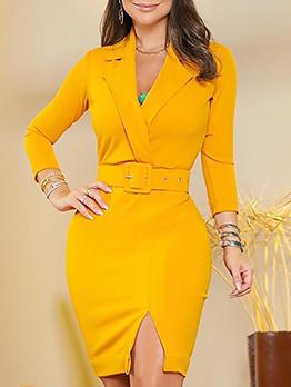 OL Style Split Bodycon Blazer Dresses
