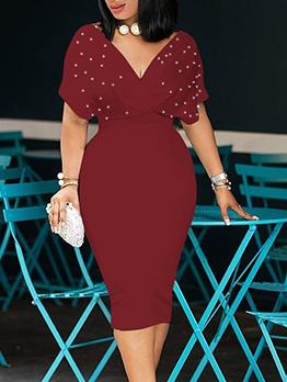 V Neck Beads Decor Smart Waist Bodycon Dress
