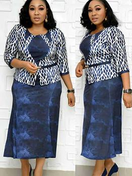 Crew Neck Printed Plus Size Ladies Dress