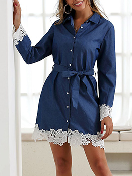 Single-Breasted Lace Panel Denim Dress