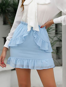 Solid Elastic Waist Hem Mini Skirt