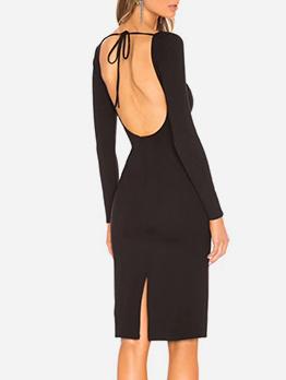 Solid Backless Slit Long Sleeve Dress