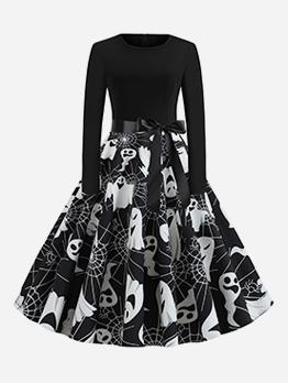 Skull Printed Fitted Large Hem Halloween Dress