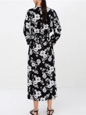 Single-Breasted Split Hem Floral Maxi Dress