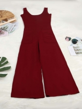 U Neck Sleeveless Solid Jumpsuits For Women