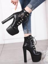 Fashion Bandage Buckle Strap Black Leather Boots