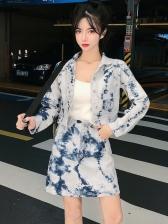 Single-Breasted Tie Dye Denim Two Piece Skirt Set