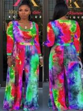 Multicolored Tie Dye Wide Leg Women Jumpsuit