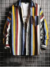 Autumn Loose Striped Colorful Shirt