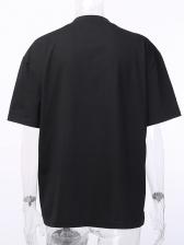 Fashion Printed Loose Black T Shirt