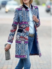 National Style Printed Long Sleeve Long Coat