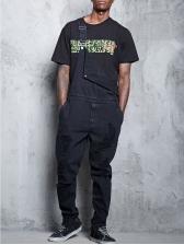 Side Pockets Distressed Denim Black Overalls