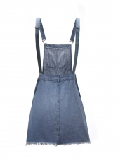 Line Selvedge Button Up Denim Suspender Dress