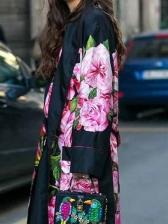 Vintage Flower Printed Long Sleeve Long Coat