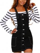 Single Breasted Women Cotton Suspender Dress