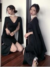 Deep V Neck Flare Sleeve Black Bodycon Dress