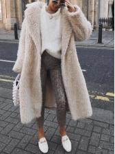 Fashion Solid Color Long Sleeve Long Winter Coats