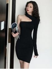 One Shoulder Black Bodycon Dress
