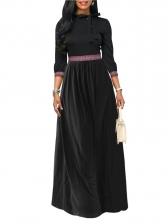 Bow Decor Fitted Large Hem Maxi Dress