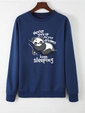 Cute Panda Printing Long Sleeve Female Sweatshirt