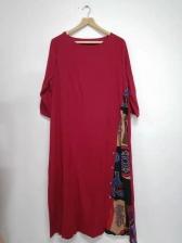 Printed Patchwork Large Hem Plus Size Dress