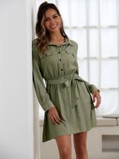 Fashion Tie-Wrap Long Sleeve Shirt Dress