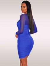 Square Neck Gauze Patchwork Solid Bodycon Dress