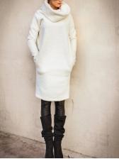 High Neck White Long Sleeve Fleece Dresses