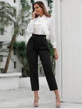 Elastic Smart Waist Straight Black Pants
