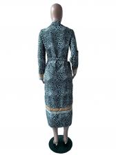 Turndown Neck Split Hem Leopard Printed Dress