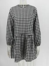 Casual Loose Plaid Long Sleeve Ladies Dresses