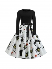 Halloween Fitted Contrast Color Printed Dress