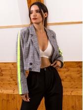 Contrast Color Plaid Long Sleeve Short Blazers For Women