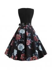Vintage Style V Neck Large Hem Printed Dress