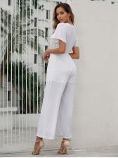 Short Sleeve Elastic Waist Wide Leg Jumpsuit