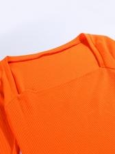 Square Neck Solid Half Sleeve Ladies Dress