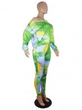 Casual Tie Dye Long Sleeve 2 Piece Pants Set