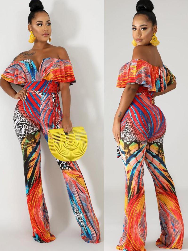 Off Shoulder Tie-Wrap Mixed Color Printed Jumpsuit
