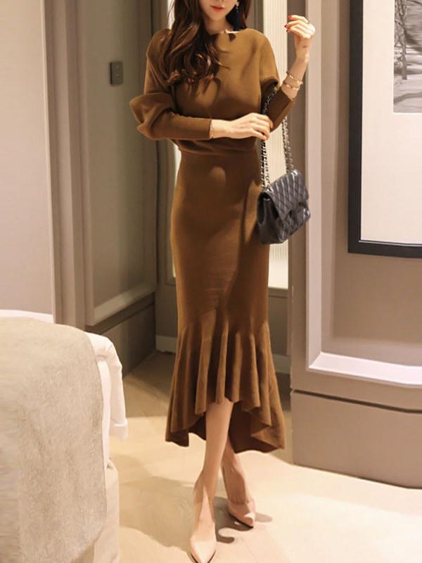 Bat Sleeve Fishtail Hem Knitted Dress For Women