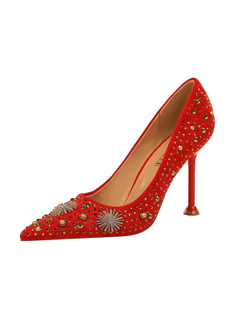 Retro Suede Rhinestone Shining Heels For Women
