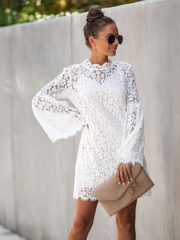 Stand Neck Flare Sleeve Loose Lace Two Piece Dress