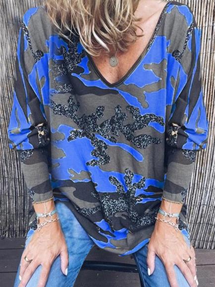 Loose Printed v Neck Long Sleeve t Shirt