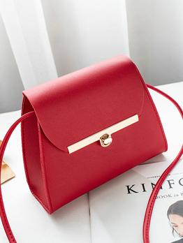 Minimalist Metal Buckle Solid Square Shoulder Bags
