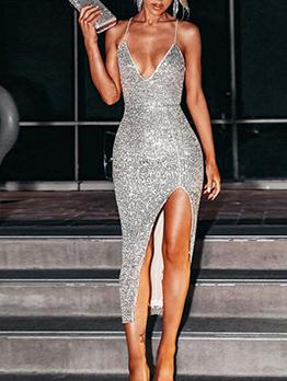 Sequined Sexy Split Bodycon Dress
